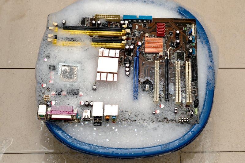 Mainboard del computer di pulizia fotografia stock