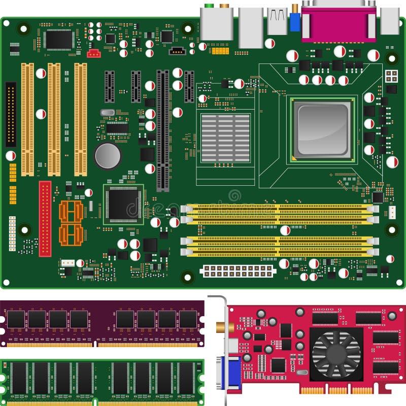 Mainboard, memória e placa gráfica ilustração do vetor