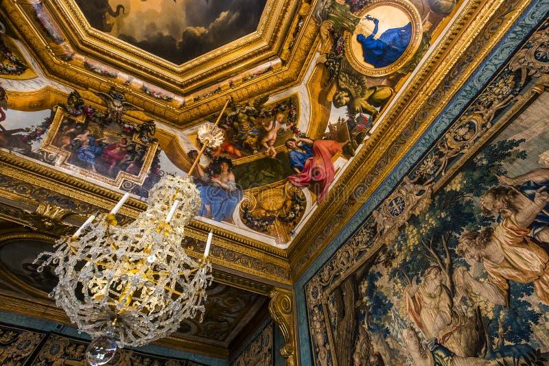 Vaux le vicomte castle, Maincy, France. MAINCY, FRANCE, MARCH 30, 2017 : interiors and architectural details of Vaux le vicomte castle, march 30, 2017, in Maincy royalty free stock photo