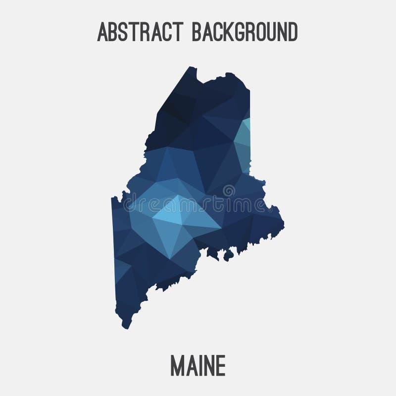 Maine översikt i geometriskt polygonal, mosaikstil royaltyfri illustrationer