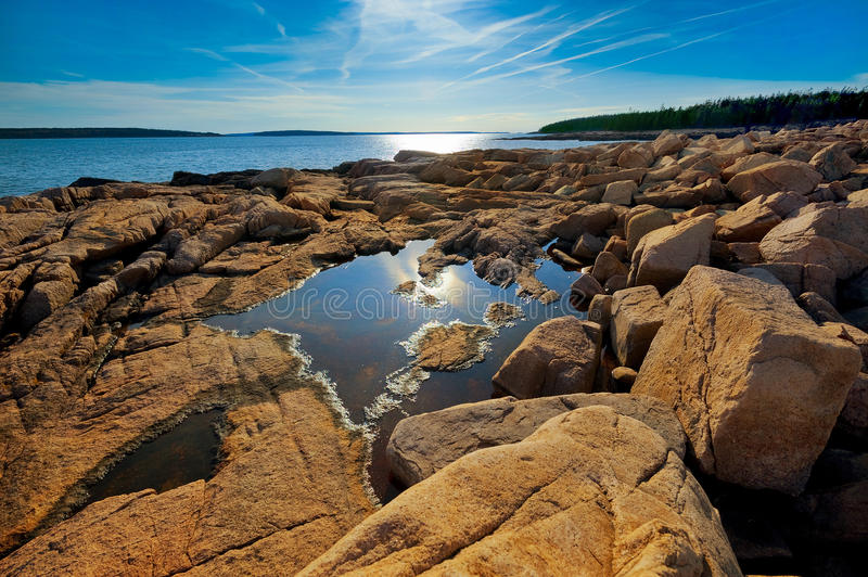 Maine coast. Rocky Maine coast with pink granite rocks in Acadia national park royalty free stock photography