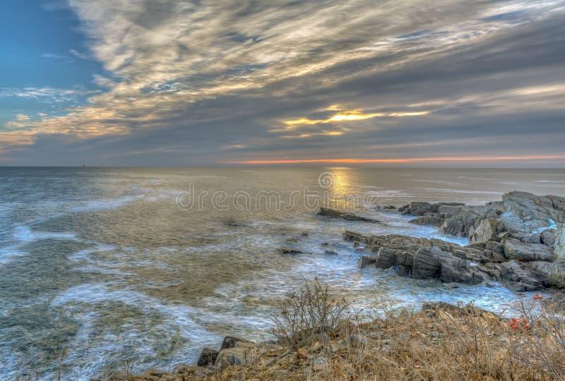 Maine Coast no nascer do sol fotos de stock royalty free