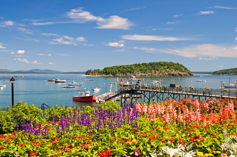 Maine coastal harbor and wharf stock images