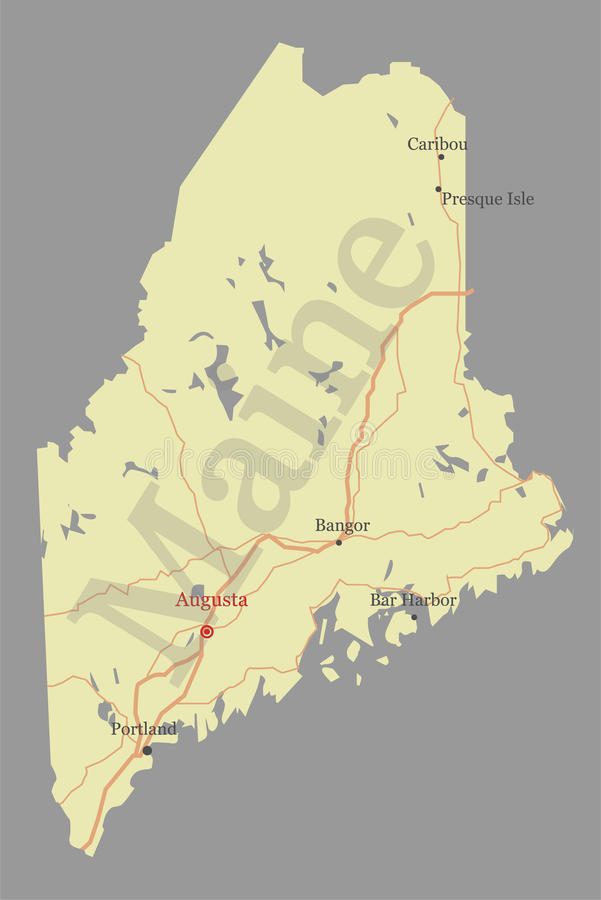 Maine detailed exact detailed vector State Map with Community As. Sistance and Activates Icons Original pastel yellow Illustration with main roads. United States vector illustration