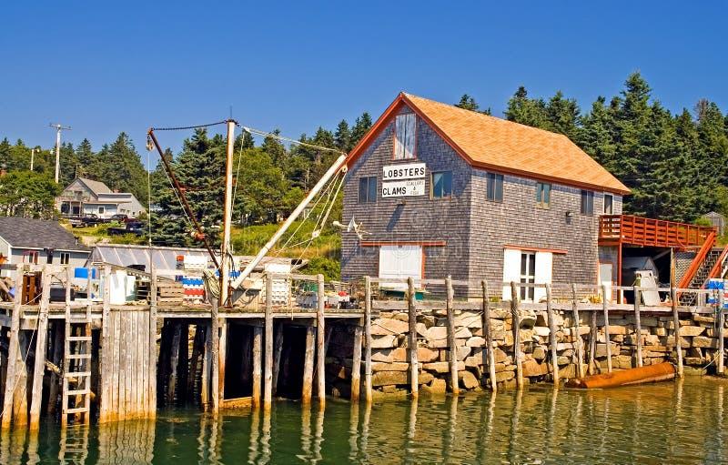 Maine fishing wharf stock images