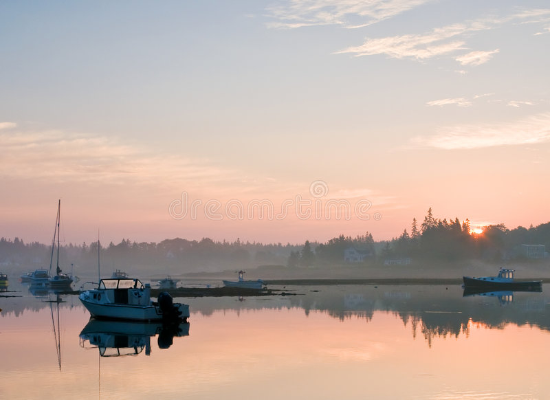 Maine harbor sunrise royalty free stock image