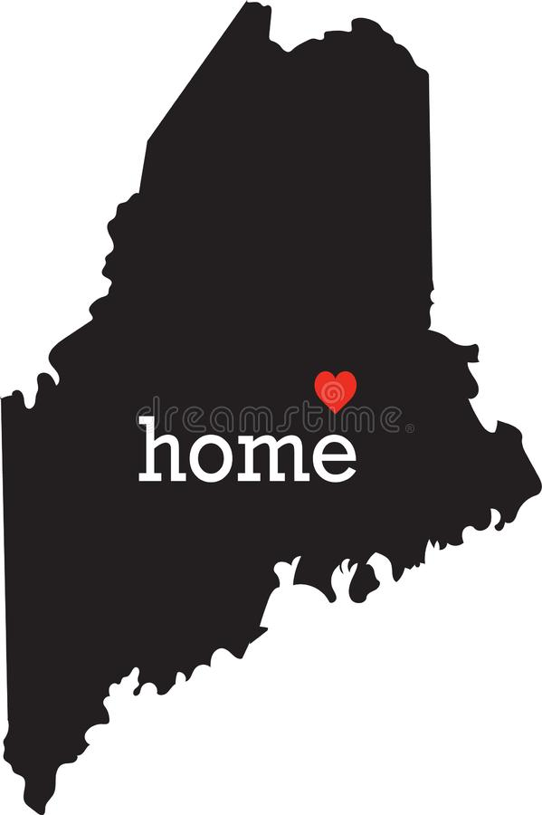Maine home state - black state map with Home written in white serif text with a red heart. Isolated on white background stock photo