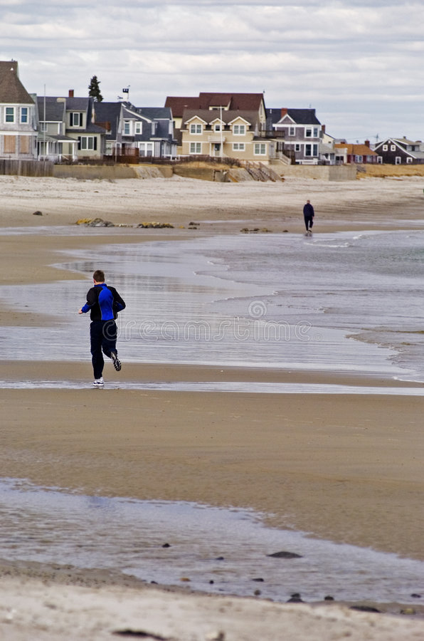 Download Maine Jogger stock image. Image of focus, ocean, sand, jogging - 614701