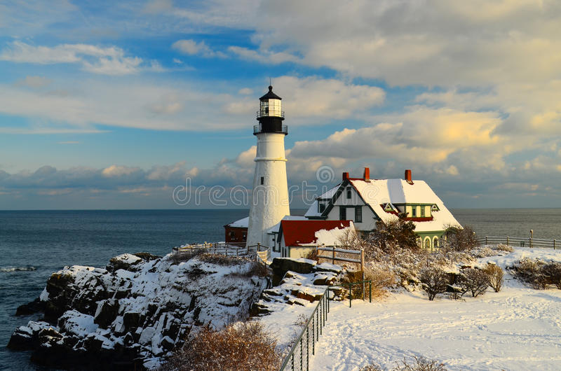 Maine Lighthouse in winter. Maine lighthouse just after a fresh snow stock photo