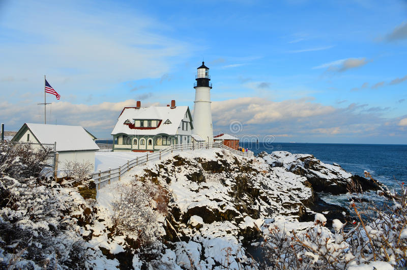Maine Lighthouse in winter. Maine lighthouse just after a fresh snow stock images