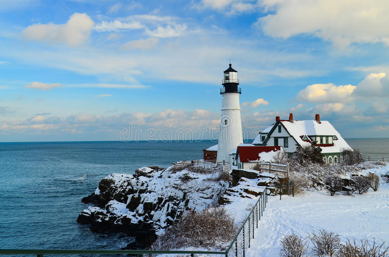 Maine Lighthouse in winter. Maine lighthouse just after a fresh snow royalty free stock photography