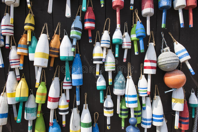 Maine Lobster Buoys. Colorful maine lobster buoys on a fishing shack royalty free stock photos
