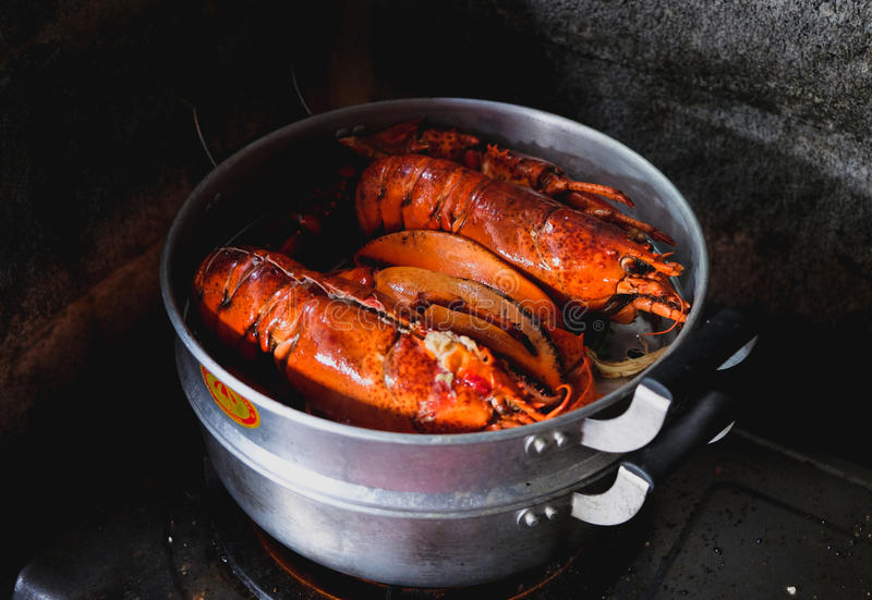 Maine Lobster is cooking in the iron steamer. On a dark background, Vintage tone, Low key royalty free stock images