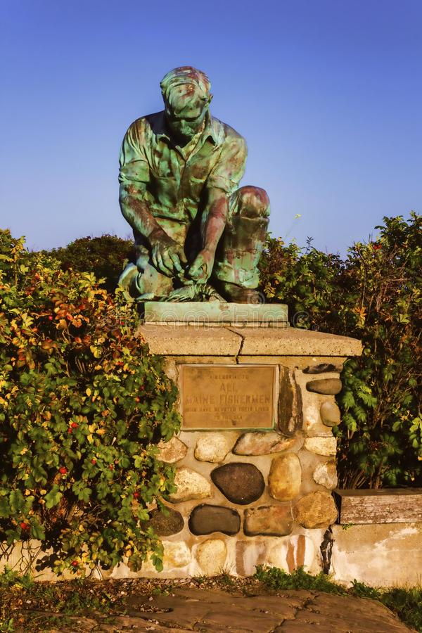 Maine Lobsterman Statue Memorial images stock