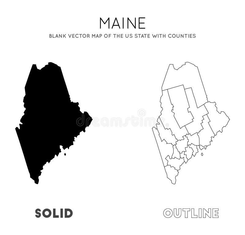 Maine mapa ilustracji
