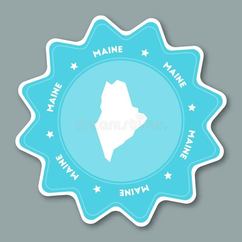 Maine mapy majcher w modnych kolorach ilustracja wektor