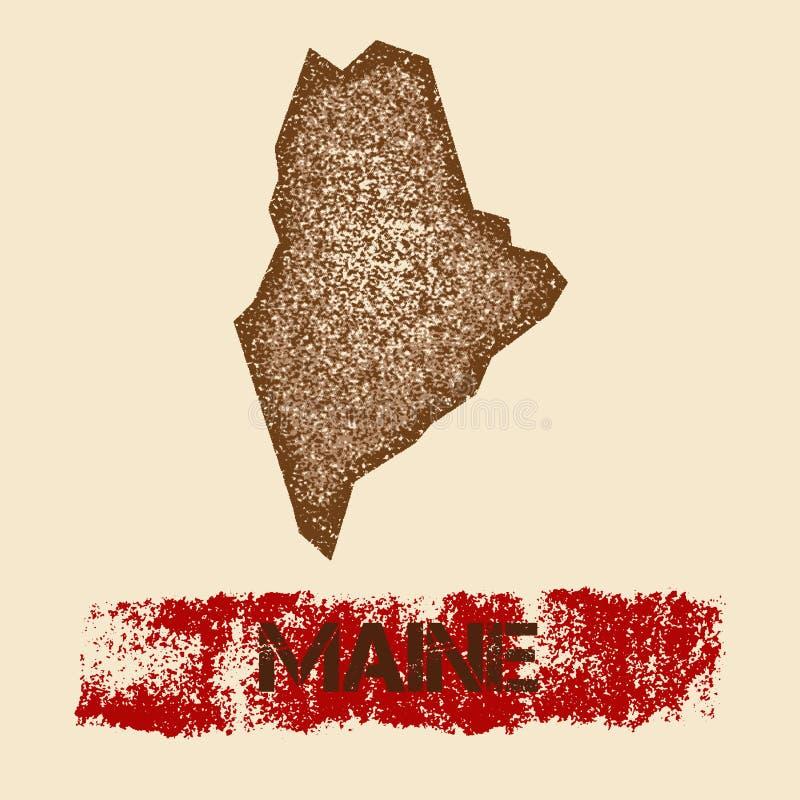 Maine martwił mapę ilustracja wektor