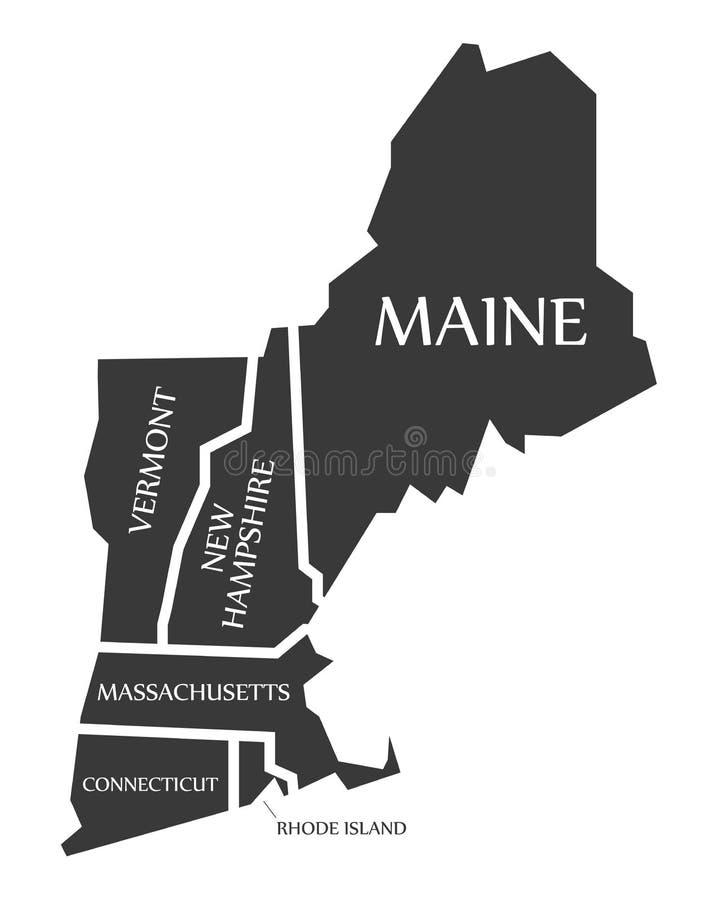 Maine - New Hampshire - Vermont, Massachusetts mapa przylepiający etykietkę bla - ilustracja wektor