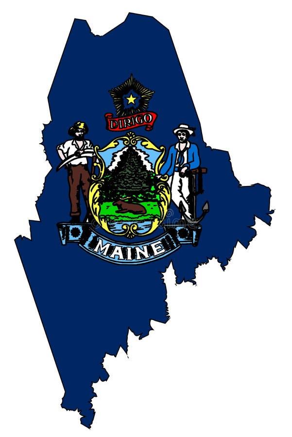 Maine Outline Map e bandiera illustrazione di stock