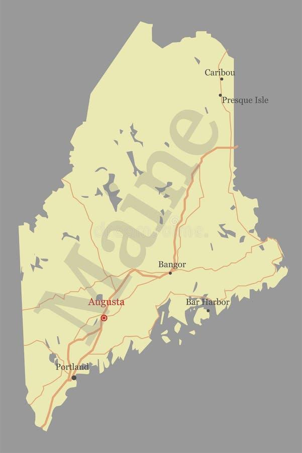 Maine specificerade den exakta detaljerade vektortillståndsöversikten med gemenskap som vektor illustrationer