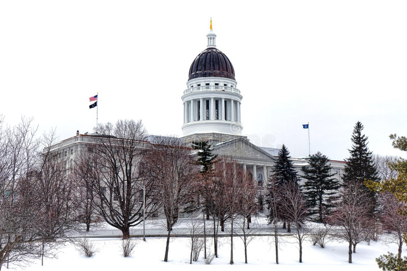 Maine State Capitol in de Winter stock foto