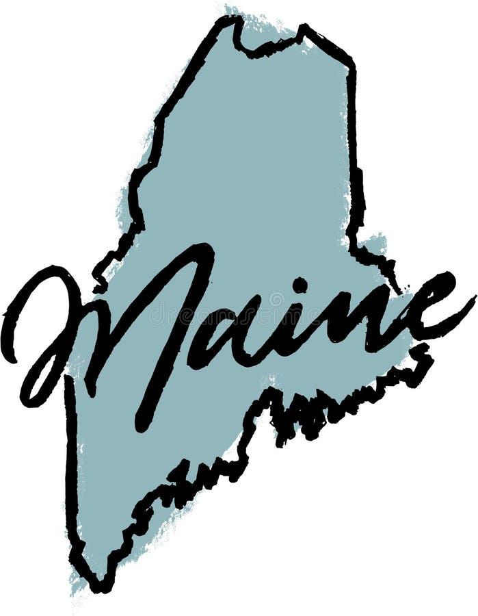 Maine State Design dibujada mano imágenes de archivo libres de regalías