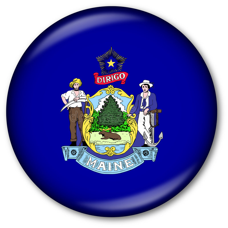 Download Maine State Flag Button stock illustration. Image of flame - 7311422