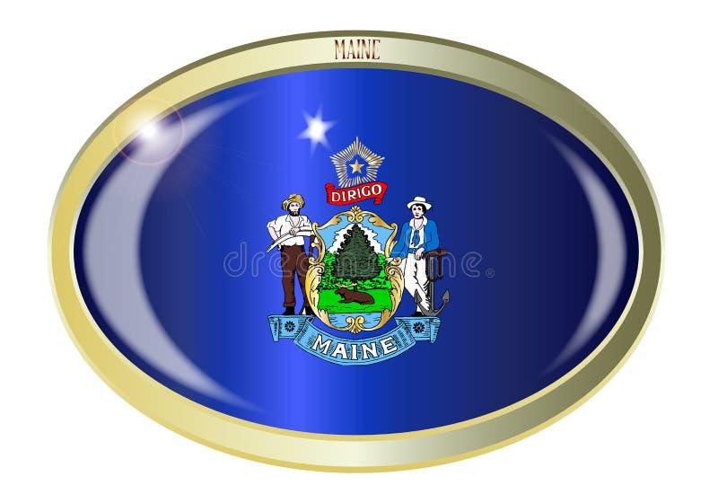 Maine State Flag Oval Button illustrazione vettoriale