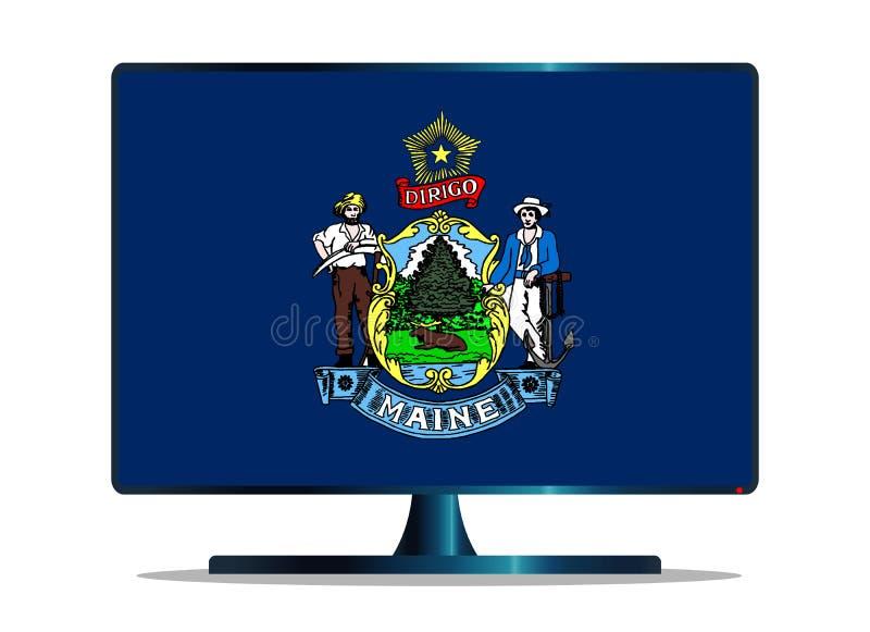 Maine State Flag TV sopra bianco illustrazione vettoriale