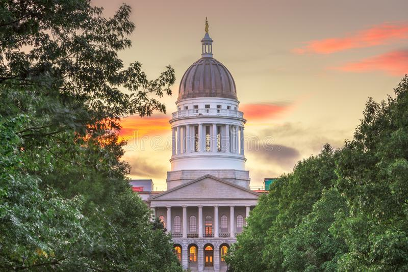 The Maine State House in Augusta, Maine, USA. At dusk stock photos