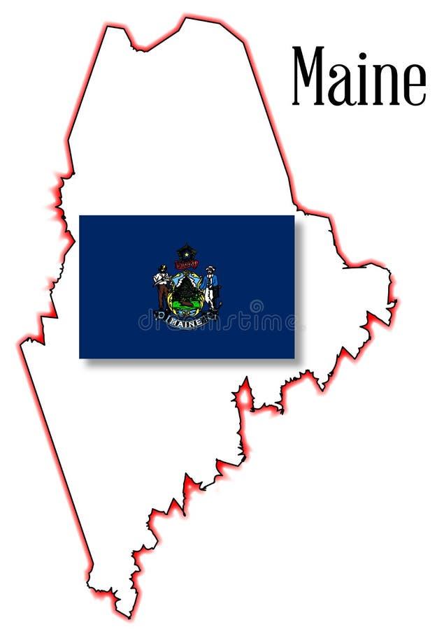 Maine State Map e bandiera illustrazione vettoriale