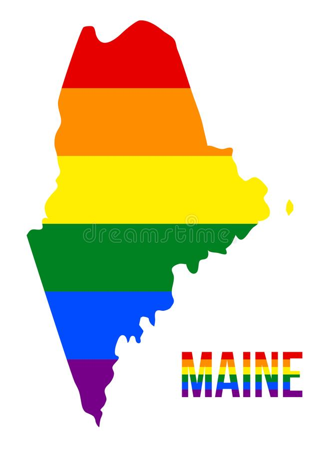 Maine State Map in LGBT Rainbow Flag Comprised Six Stripes With Maine LGBT Text. The Flag Comprised Six Stripes; Meaning to Each of The Colors: Life, Healing stock illustration