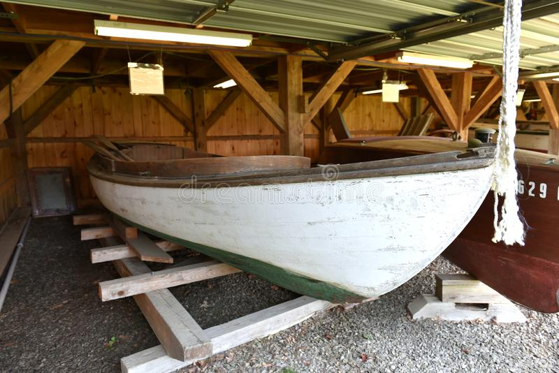 Maine state maritime museum historic small boat stock image