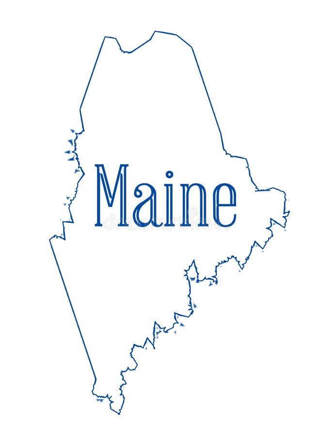 Maine State Outline Map illustrazione vettoriale