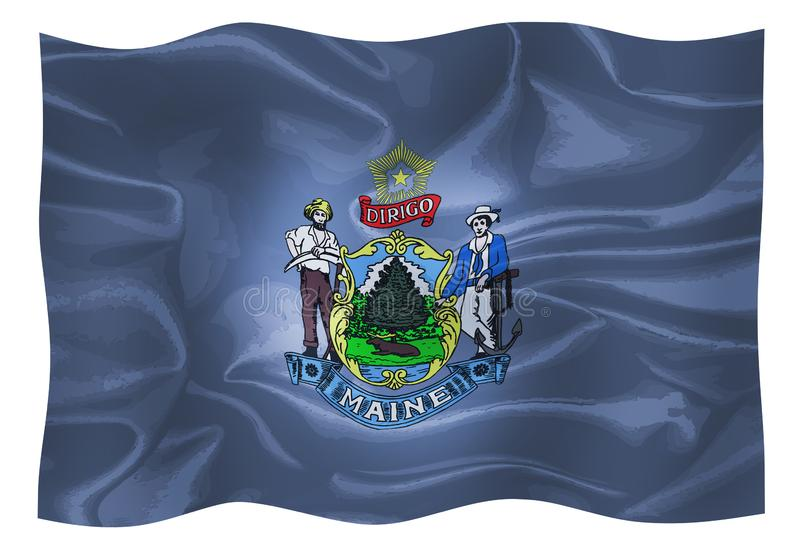 Maine State Silk Flag illustrazione di stock