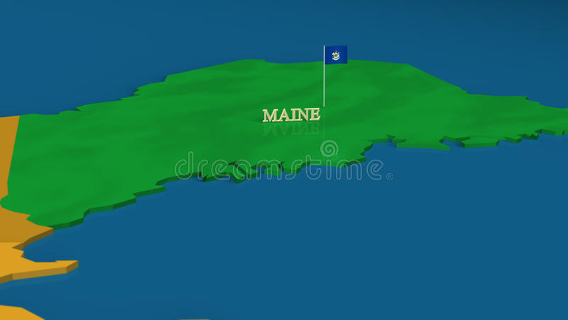 Maine - United States Series With Flags Royalty Free Stock Image