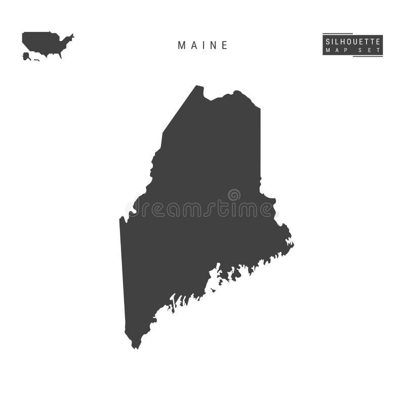 Maine USA påstår vektoröversikten som isoleras på vit bakgrund Hög-specificerad svart konturöversikt av Maine vektor illustrationer