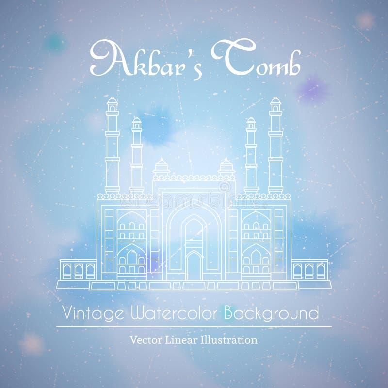 Maingate till bakgrunden för Akbars gravvalvvattenfärg vektor illustrationer