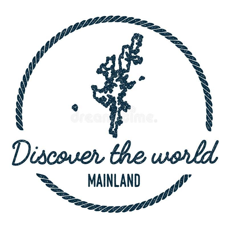 Mainland Map Outline. Vintage Discover the World. vector illustration