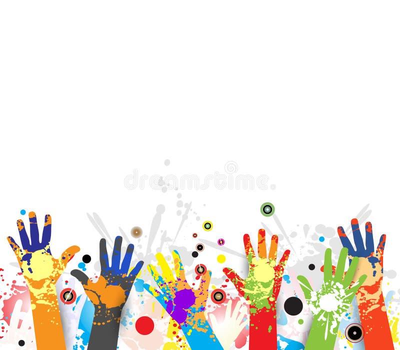 Mains abstraites d 39 enfants en peinture color e illustration stock illustration du cinq - Peinture main enfant ...