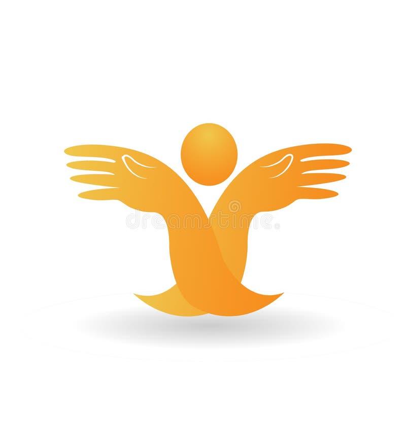 Mains abstraites pleines d'espoir, soutenant et aidant d'autres, vecteur d'icône illustration de vecteur