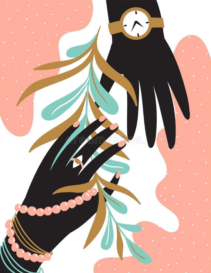 Mains abstraites sur le fond rose avec la fleur l'illustration s de coeur de vert de dreamstime de conception de jour de carte st illustration stock