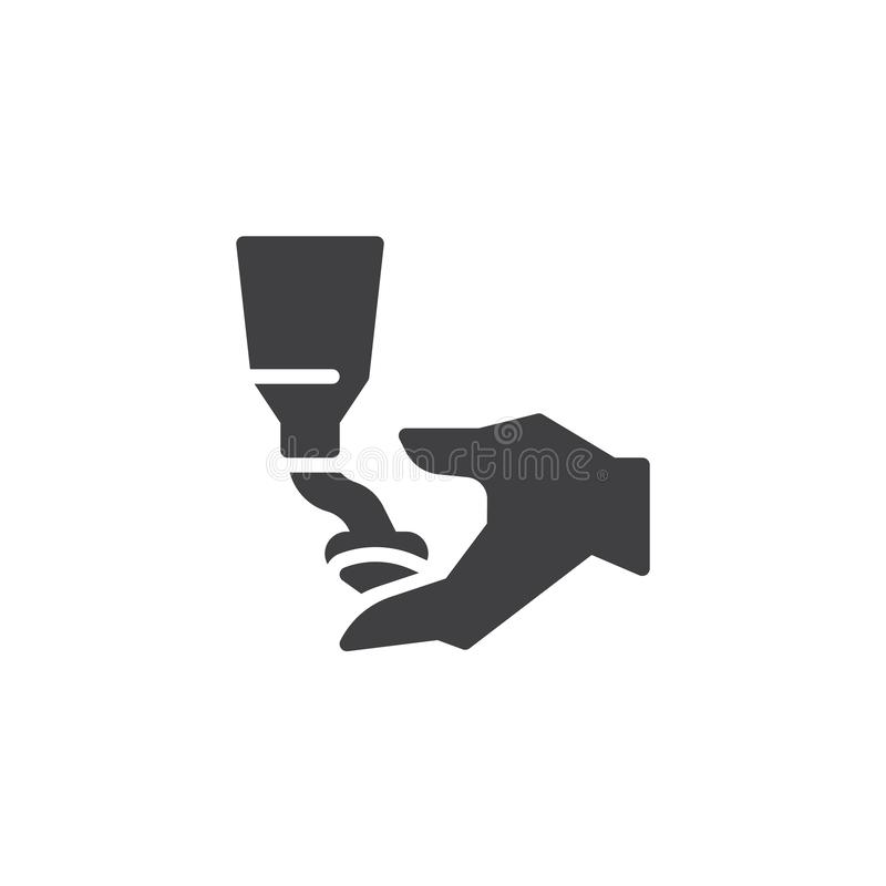Mains appliquant l'icône de vecteur de crème de lotion illustration stock