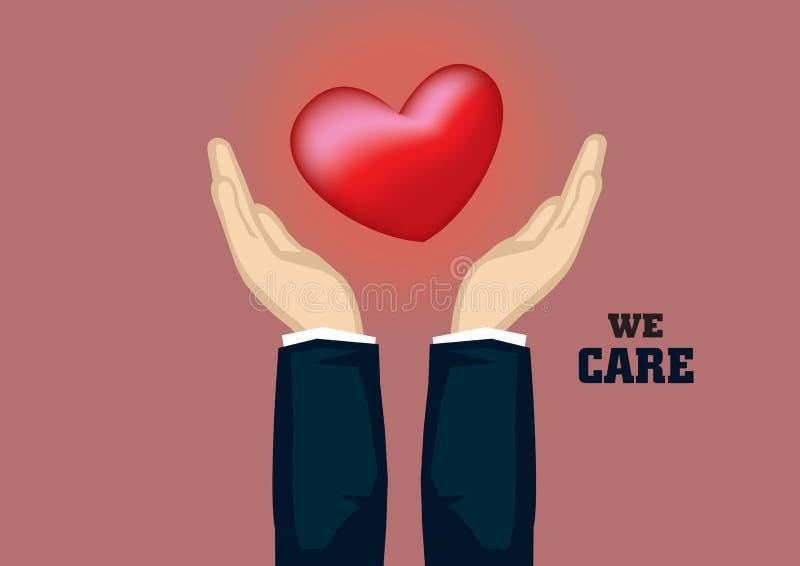 Mains attrapant l'illustration de vecteur de symbole de coeur pour d'entreprise ainsi illustration libre de droits