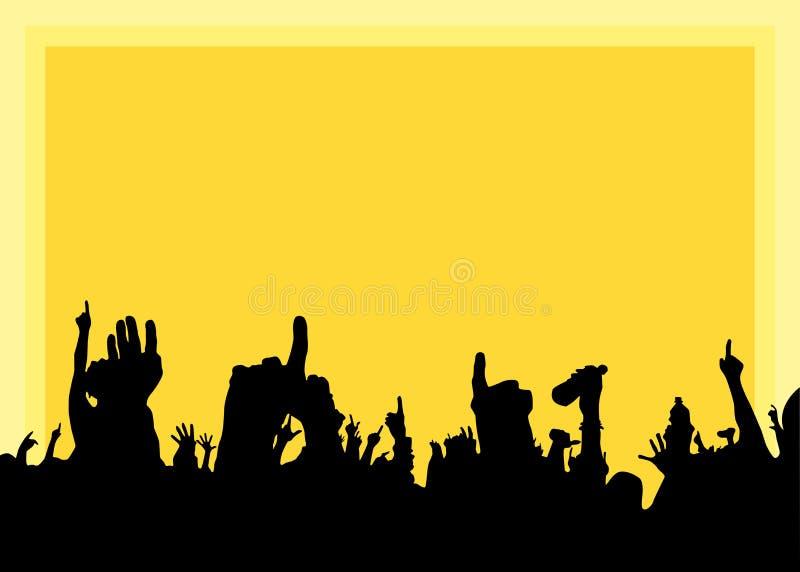 Mains au concert, silhouettes contre l'éclairage d'étape illustration de vecteur