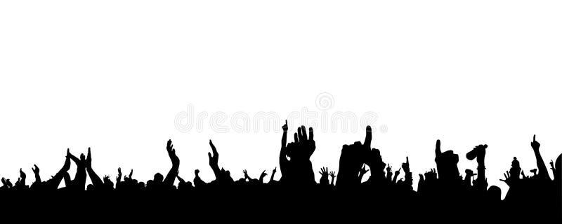 Mains au concert, silhouettes contre l'éclairage d'étape D'isolement sur le fond blanc illustration libre de droits