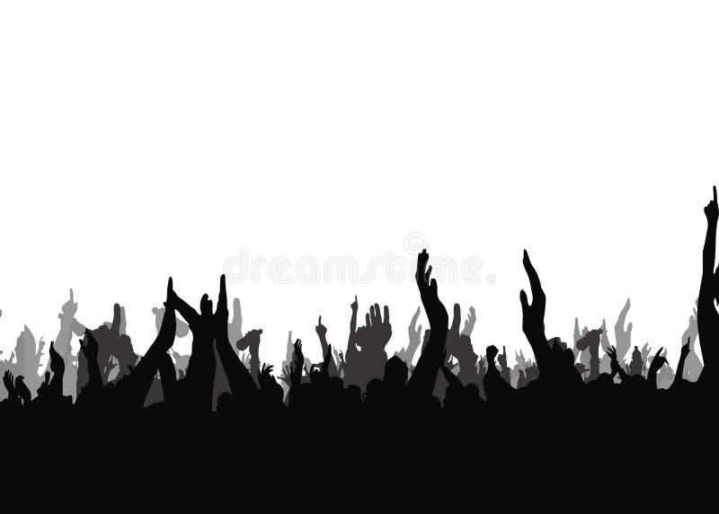 Mains au concert, silhouettes contre l'éclairage d'étape D'isolement sur le fond blanc illustration de vecteur