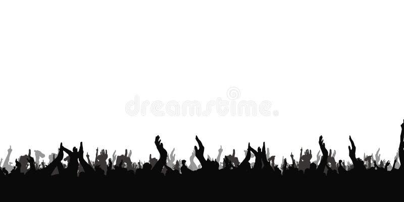 Mains au concert, silhouettes contre l'éclairage d'étape D'isolement sur le fond blanc illustration stock