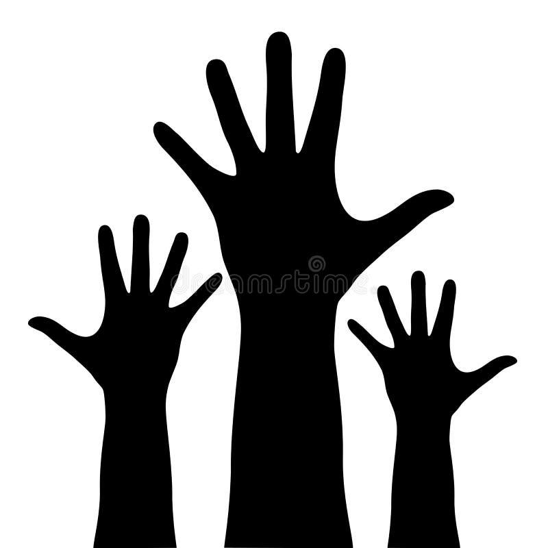 Mains augmentées illustration stock