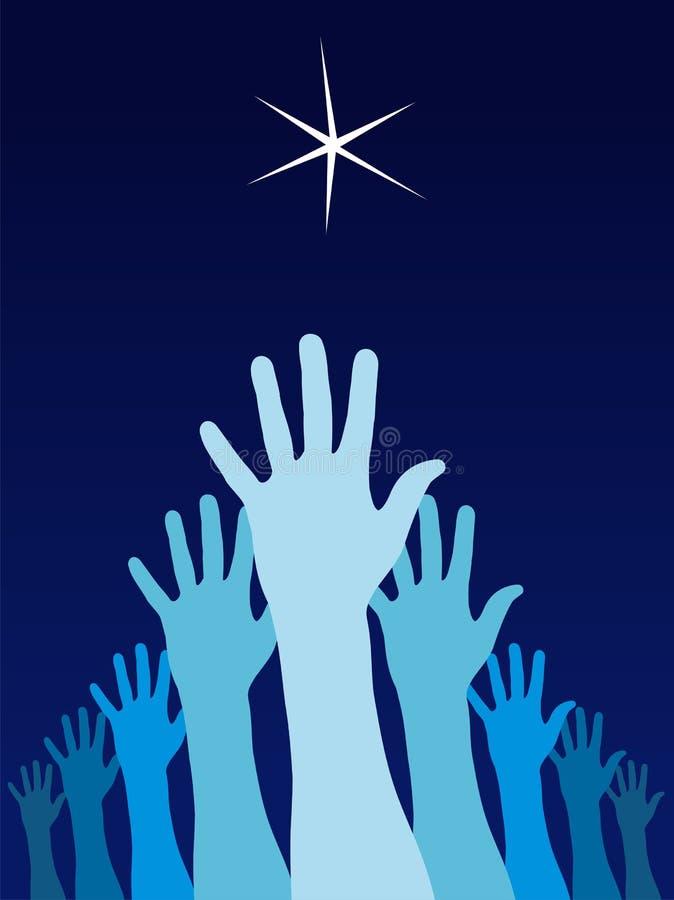 Mains augmentées essayant d'atteindre une étoile illustration stock